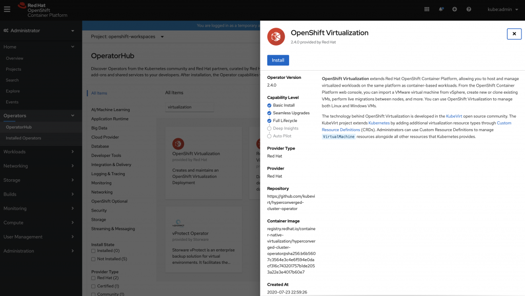 Install Openshift Virtualization with a click
