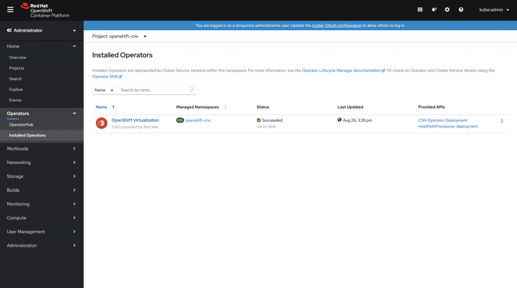 Figure 5: The Openshift Virtualization Operator installation was successful.