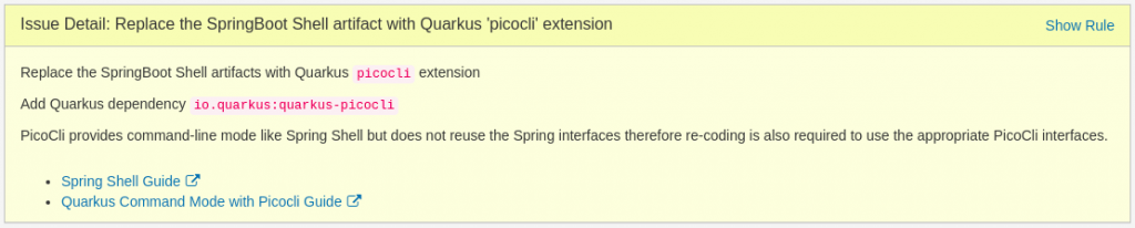 Issue Detail: Replace the SpringBoot Shell artifact with Quarkus 'picocli' extension