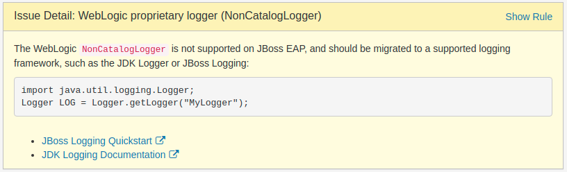 Issue Detail: WebLogic proprietary logger (NonCatalogLogger)