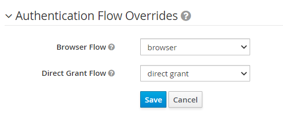 Authentication Flow Overrides filled in