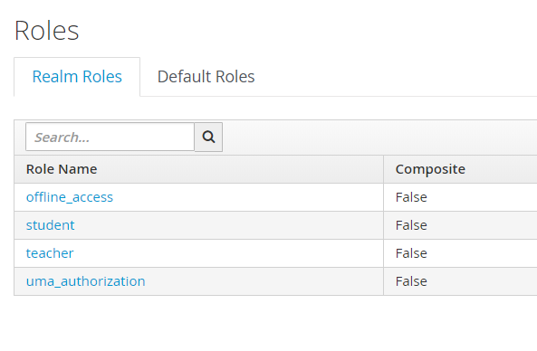 Roles -> Realm Roles showing the newly added roles