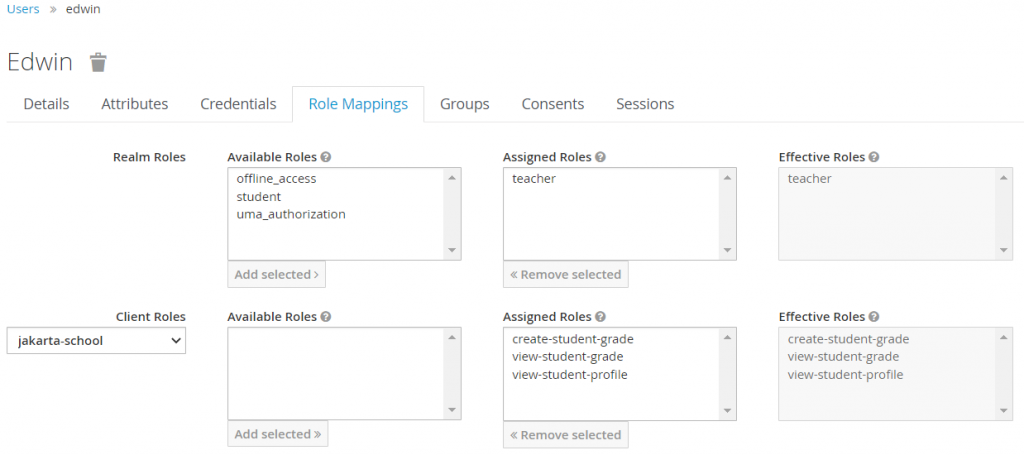 Users -> edwin -> Role Mappings with the Client Roles selected