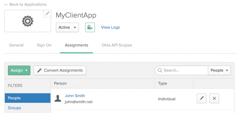 In the Okta admin console, create and assign at least one user to the application.