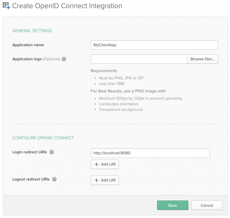 Use the 'Create OpenID Connect Integration' dialog to create the Okta app.