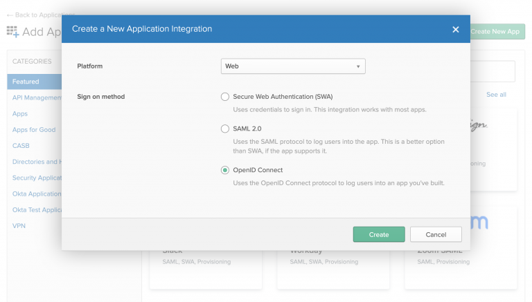 The dialog to create a new application in the Okta admin portal. The OpenID Connect sign-on method is selected.