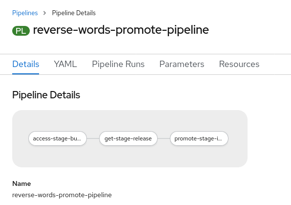 reverse-words promotion pipeline: access-stage-bu... -> get-stage-i...release -> promote-stage-