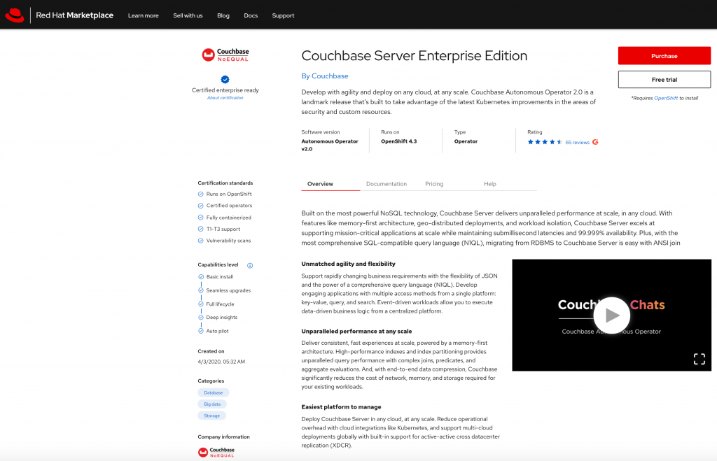 The Couchbase Server Enterprise Edition page with purchase and free trial options