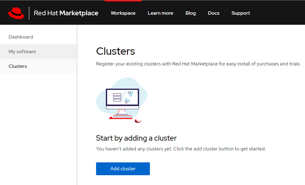 The 'Add cluster' page.