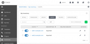 The two hosts just created appear in the hosts list in the Ansible Tower inventory.