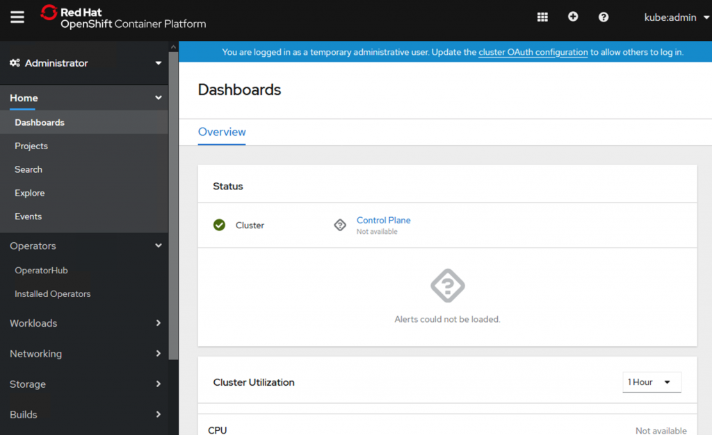 A screenshot of the admin view of the cluster console.
