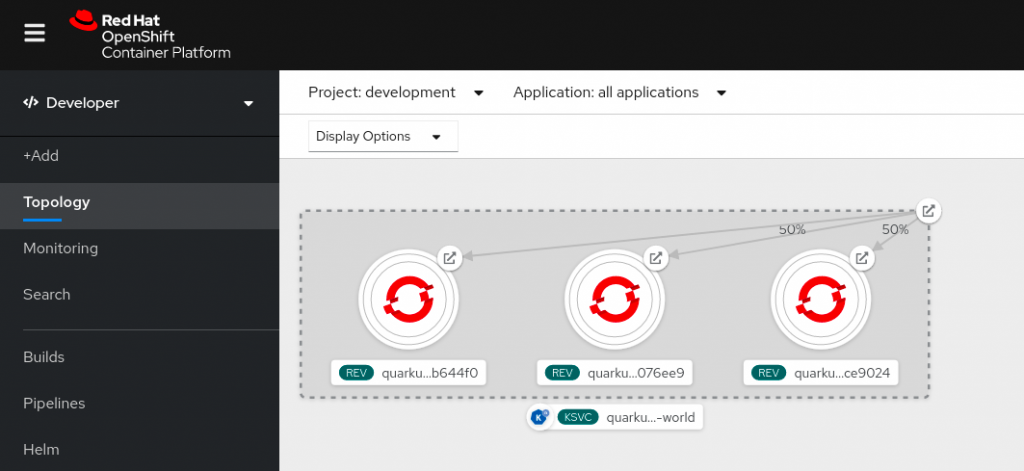 OpenShift's developer perspective lets you see the live applications and routing at a glance.