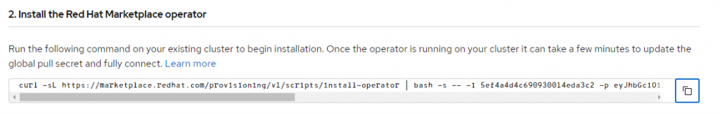 A screenshot of the 'Add cluster' page with the command-line command to install the Operator.