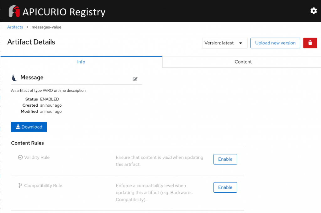 The Service Registry user interface.