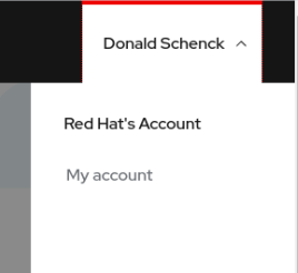 The 'my account' option on Red Hat Marketplace.
