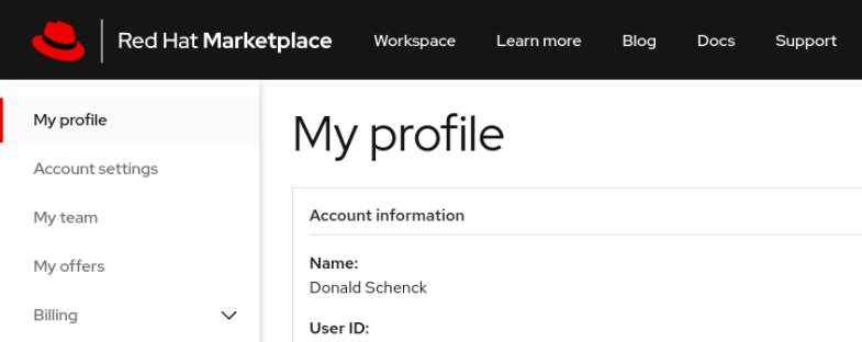 A screenshot of the Red Hat Marketplace 'My profile' page.