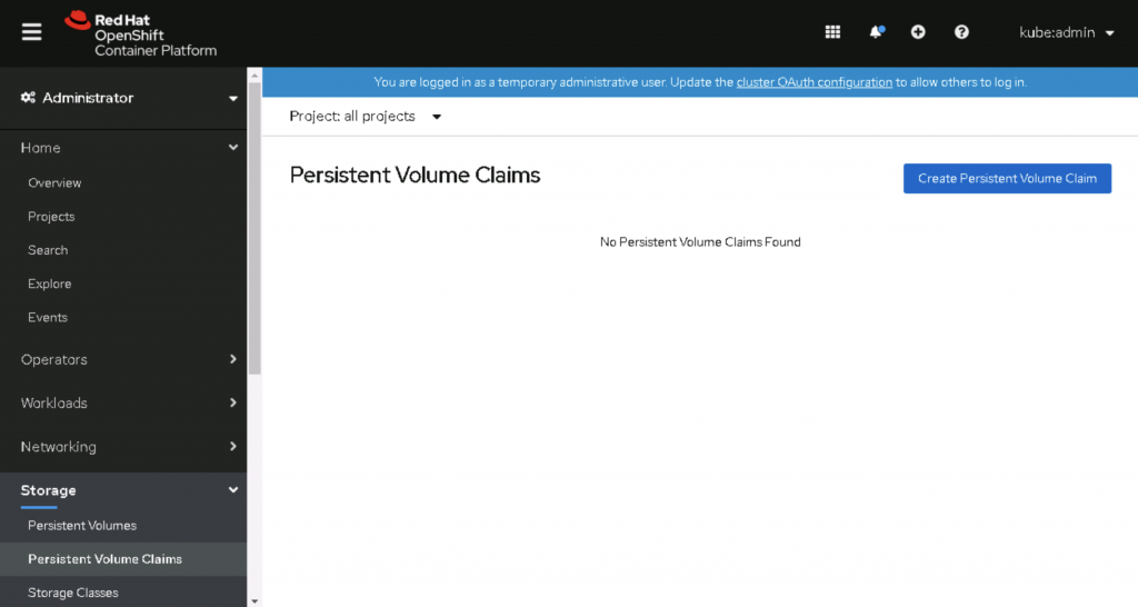 The initial page to create a persistent volume claim.