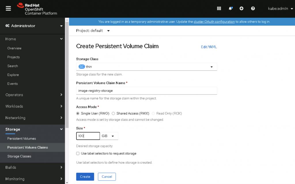Configure the PVC, then click Create.