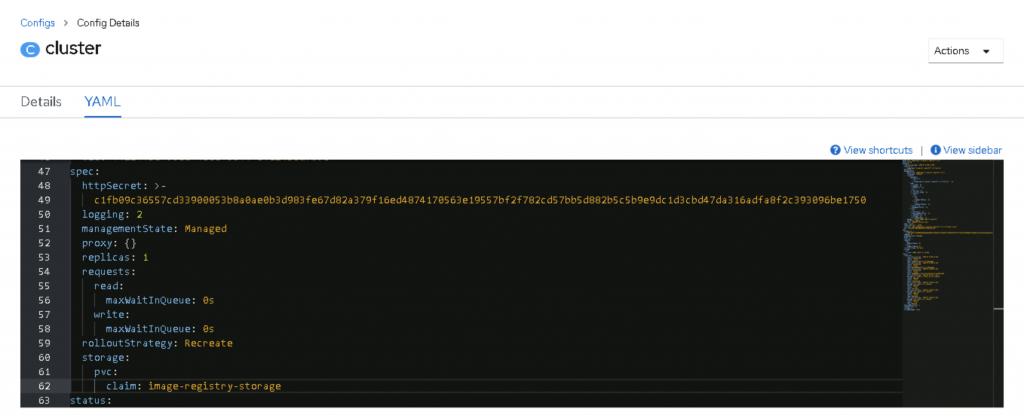A screenshot of the YAML file.