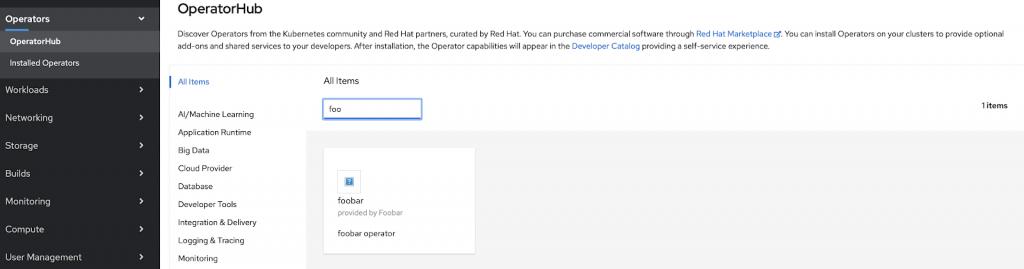 "Operators -> OperatorHub -> Searching All Items for ""foo"" returns ""foobar"""