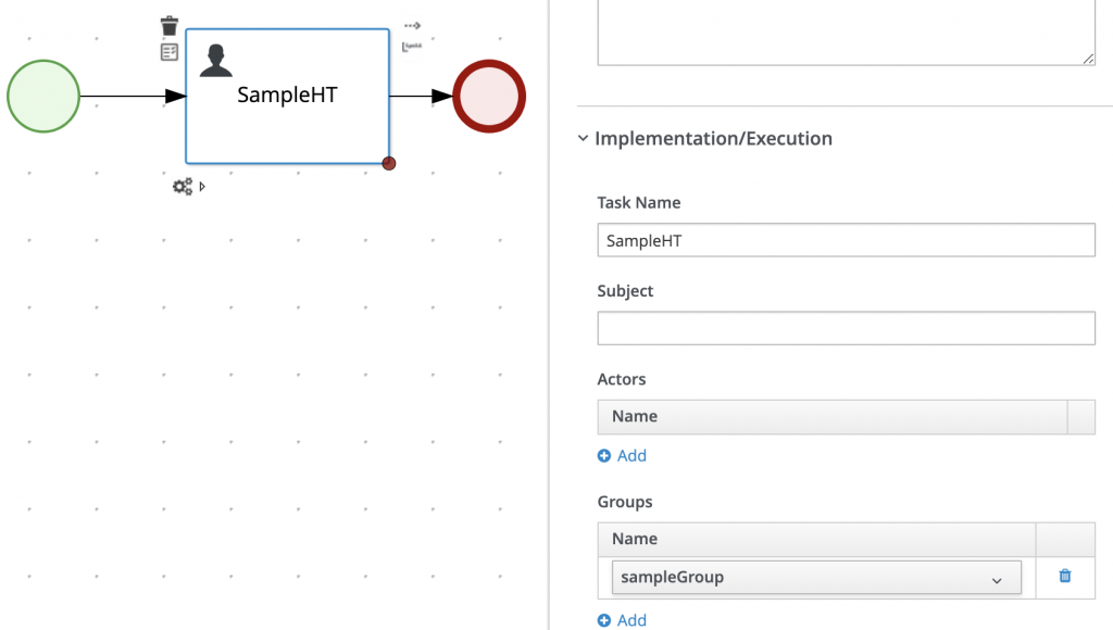 Implementation/Execution: Task Name SampleHT, no actors, Group name sampleGroup