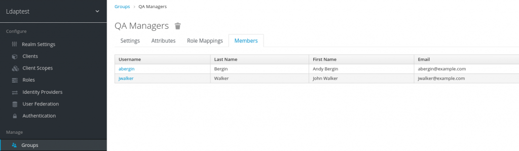 Ldaptest > Manage > Groups with the LDAP groups now added and populated