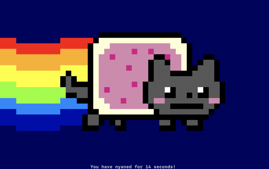 A Nyan Cat displayed on the console screen.