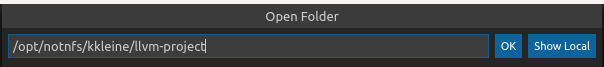 Type the absolute path to the llvm-project folder into the Open Folder dialog.