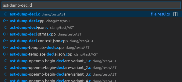 VS Code displays all the file names that match or resemble the 'ast-dump-decl.c' string.