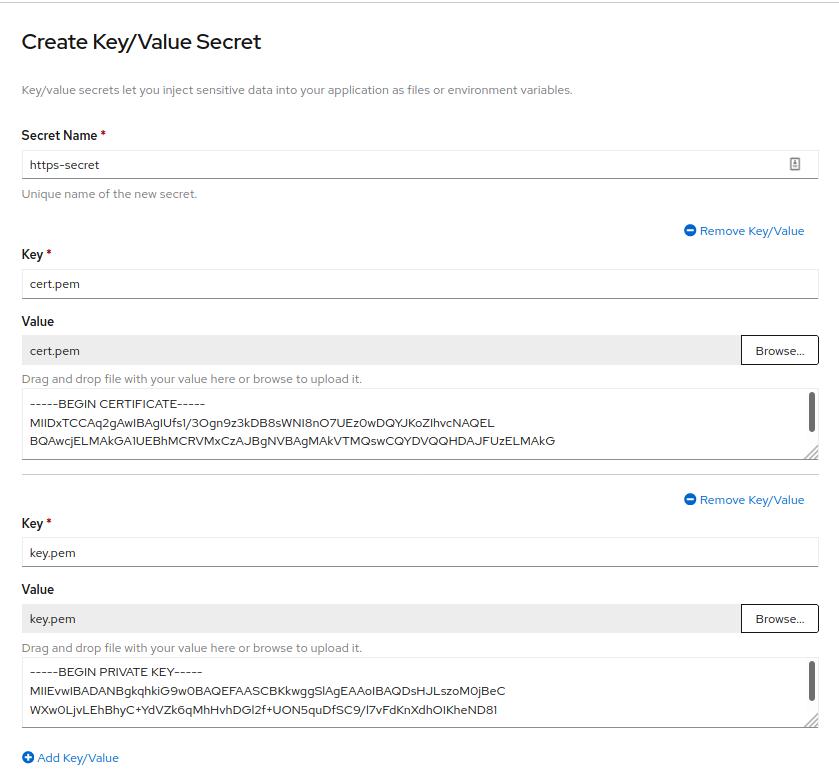 Create Key/Value Secret dialog box filled in with Secret Name https-secret and Key/Value entries for cert.pem and key.pem