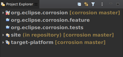 The Project Explorer with custom font preferences.