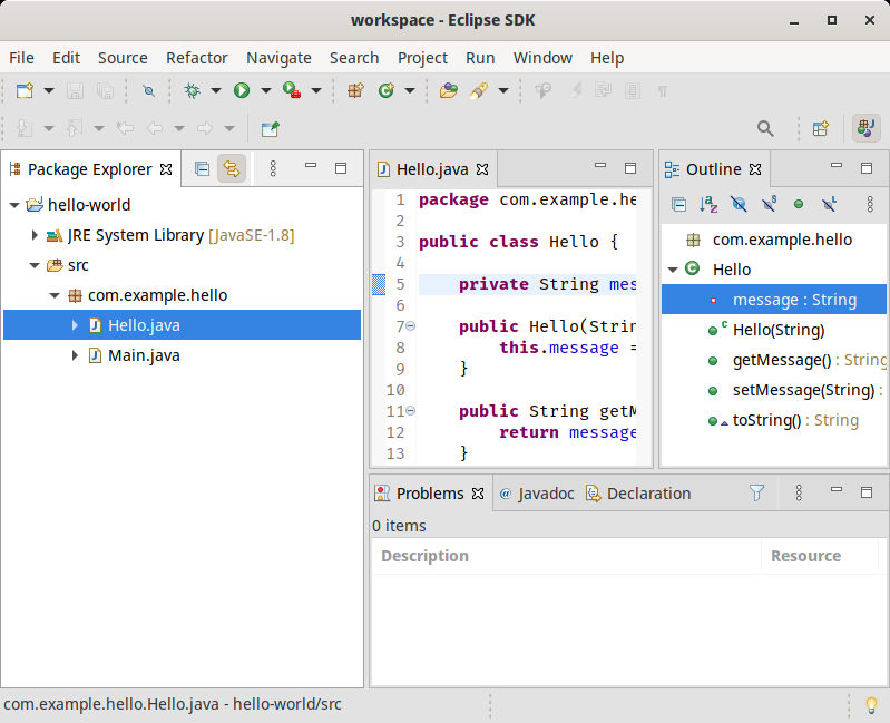 An Eclipse SDK workspace with the old GTK light theme.