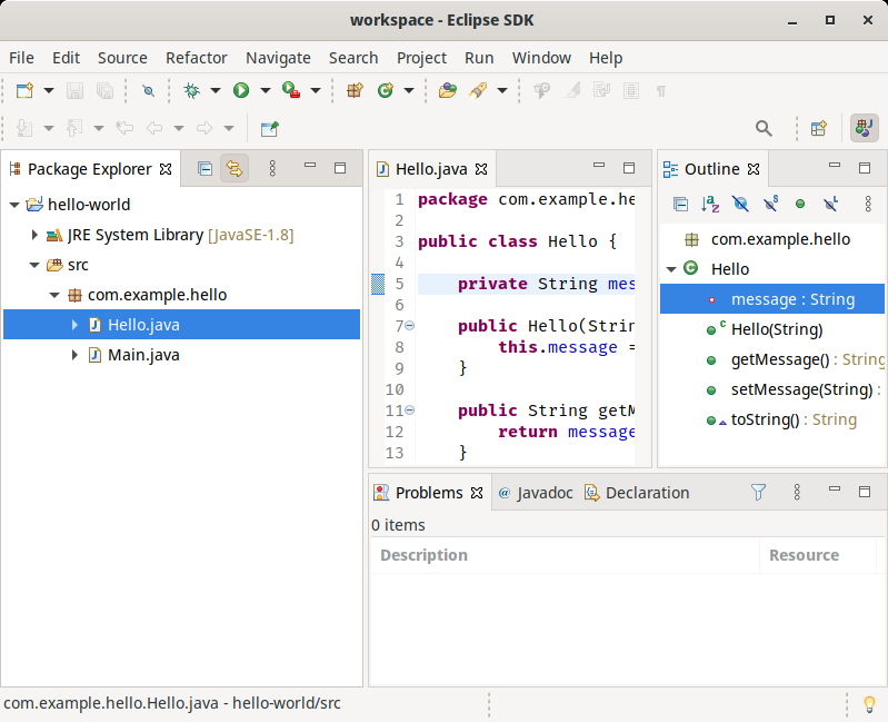 The Eclipse SDK workspace with the new theme.