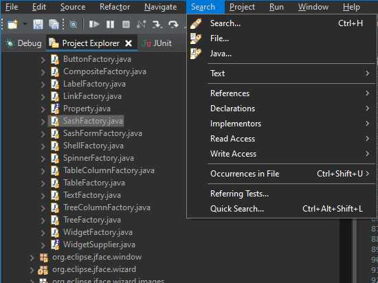 A dropdown window shows available Java classes in the project.