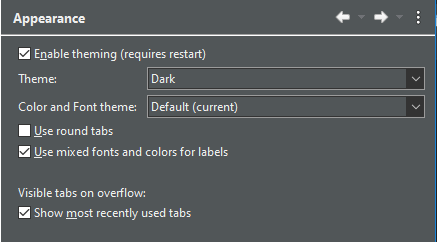 A dropdown with the dark theme selected.