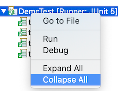 Collapse All is highlighted in a dropdown list.