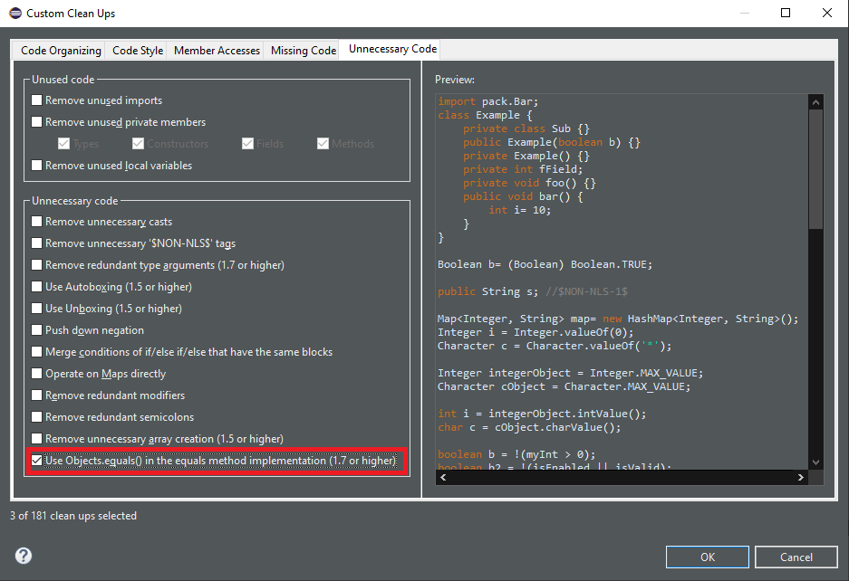 The cleanup selection and code preview are shown.