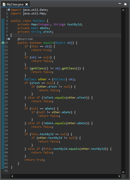 A code sample in the editor window.