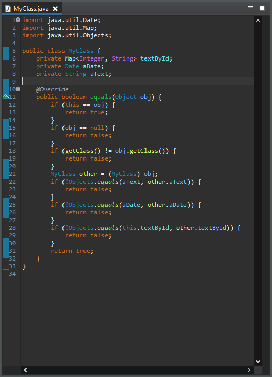 The code sample in the editor.
