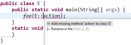 A code snippet with the quickfix option highlighted.