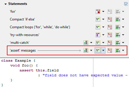 "The ""'assert' messages"" setting is selected."
