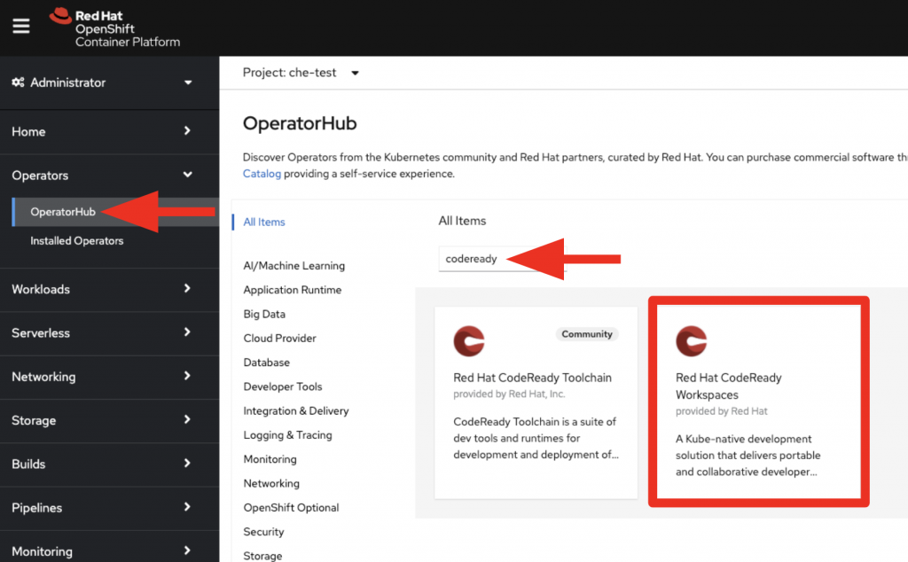 A screenshot of the OperatorHub, where the CodeReady Workspaces Operator tile is outlined in red.