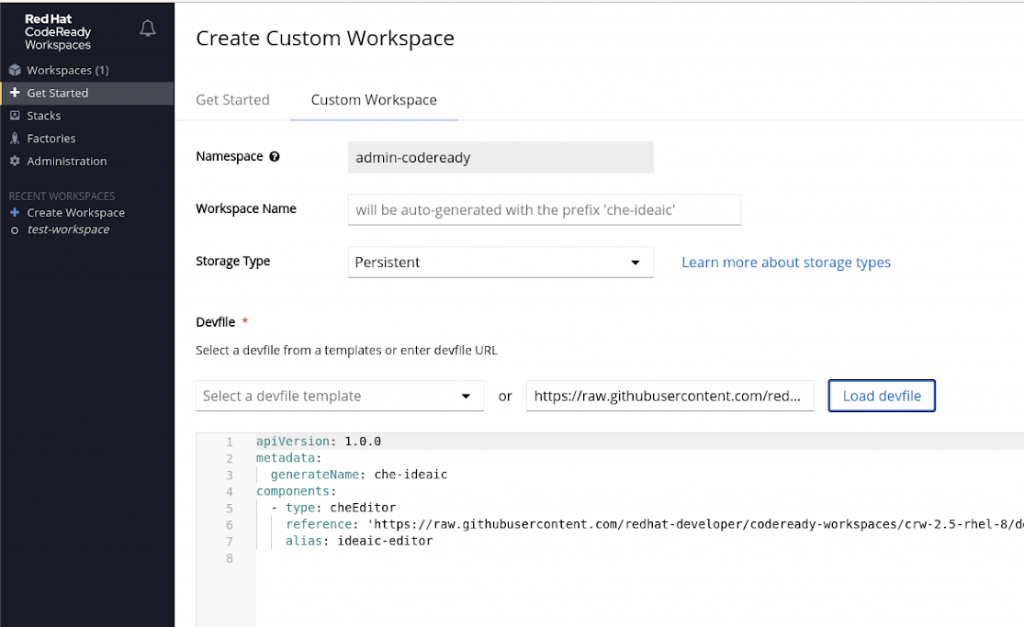 The dialog to add a custom workspace includes fields for adding a custom workspace and loading a devfile.