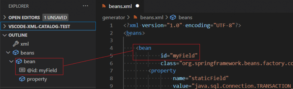 A Spring XML file with id attributes shown.