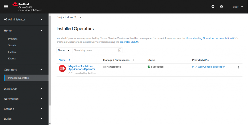 The new Migration Toolkit for Applications Operator is shown on the OpenShift 'Installed Operators' page.