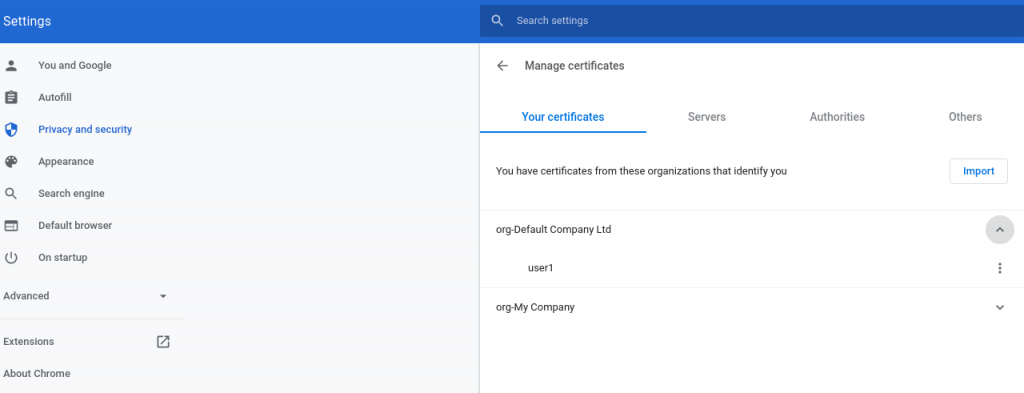 Use the Chrome settings to import user certificate p12.