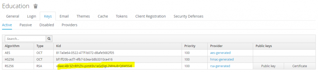 Education -> Keys -> Active with the RSA-generated key selected.