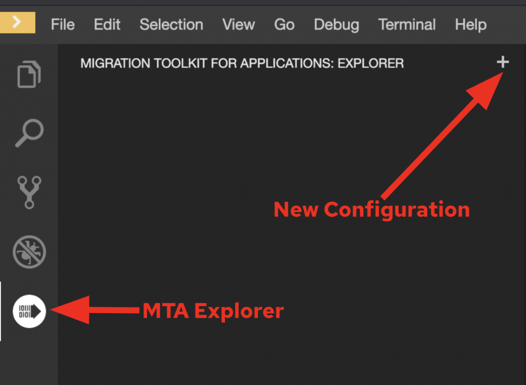 Arrows indicate the MTA explorer icon and the plus symbol to create a new configuration.