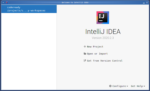 The welcome screen for IntelliJ IDEA.
