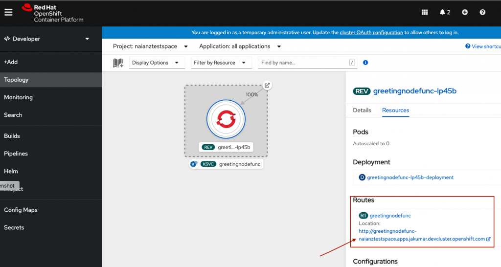 The Topology view lets you see the serverless function deployed on your OpenShift cluster. The highlighted routes make it easy to access the deployed function from your browser.